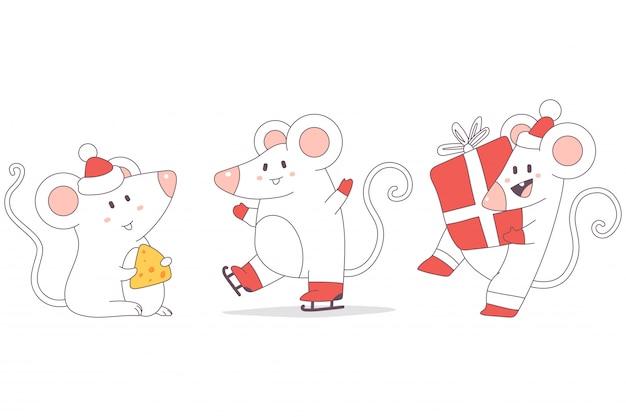 Christmas rats cute characters set. Premium Vector