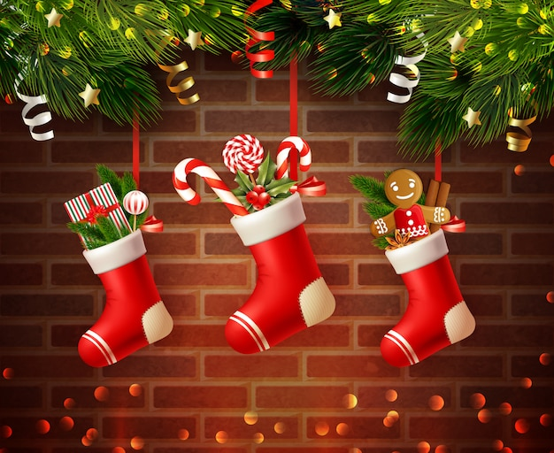 Christmas realistic composition Free Vector