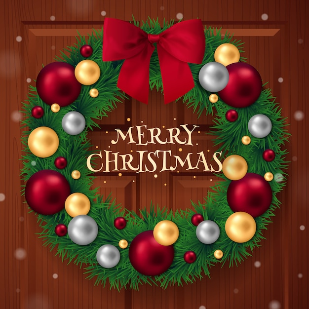 Christmas realistic wreath with decorative balls Free Vector