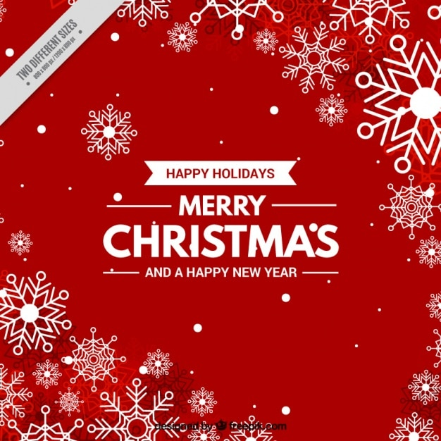 Christmas red background with snowflakes Vector | Free Download