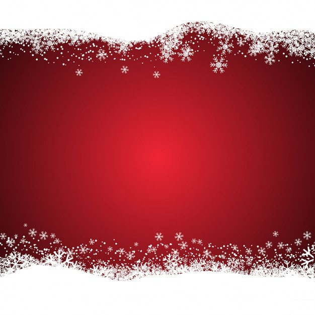Christmas red background with snowy  Free Vector