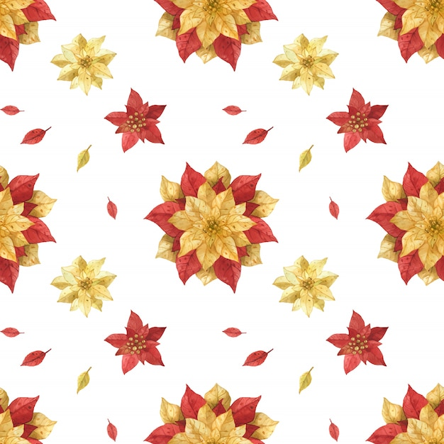 Christmas red gold poinsettia watercolor seamless pattern Premium Vector