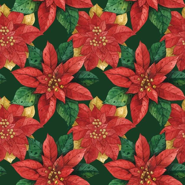 Christmas red green star poinsettia seamless pattern Premium Vector