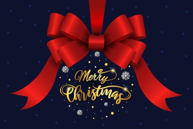 Рождественская красная лента и надпись фон Бесплатные векторы