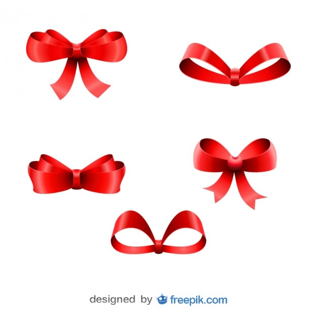 christmas red ribbons five bows set vector free download