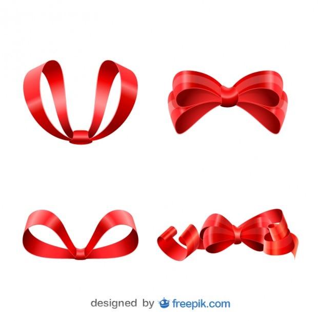 Christmas red ribbons set Free Vector