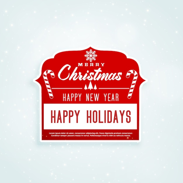 Christmas red sticker design with text space