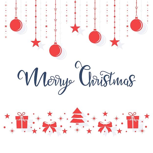 크리스마스 빨간 장난감은 흰색 바탕에 밧줄에 만요. 프리미엄 벡터