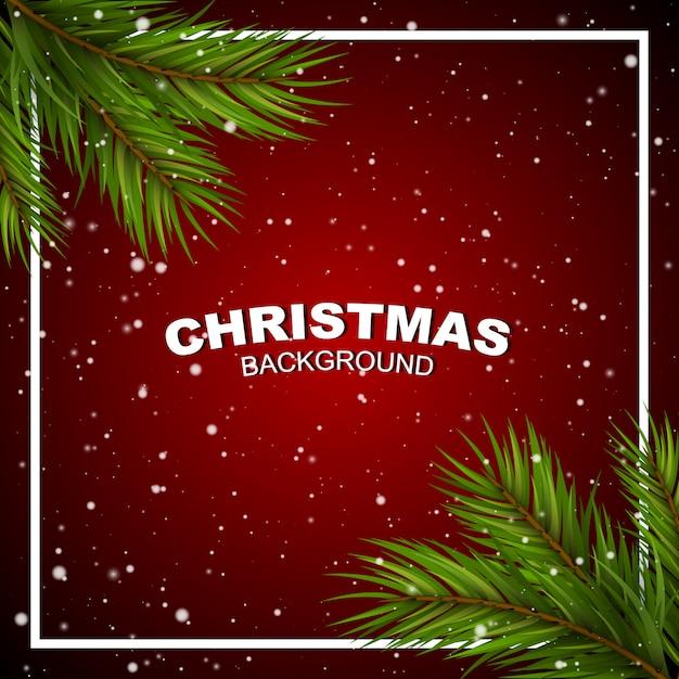 コーナーと雪の松の枝と赤のクリスマス。 Premiumベクター