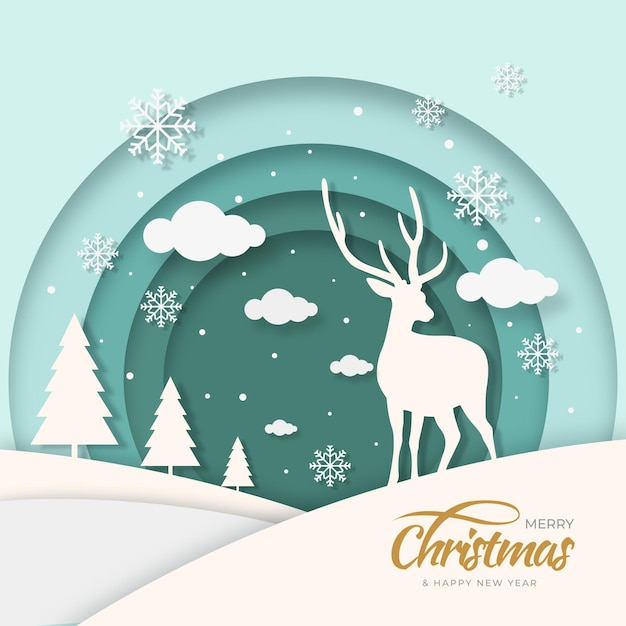 Christmas reindeer background in paper style Free Vector