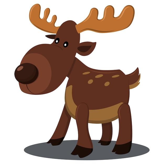 Рождественский олень характер. мультфильм оленей иллюстрации на белом фоне. Premium векторы