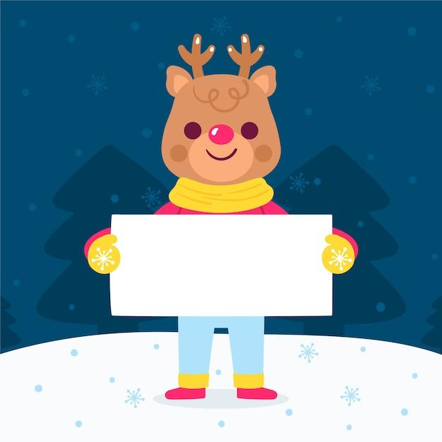 Christmas reindeer character holding blank banner Free Vector