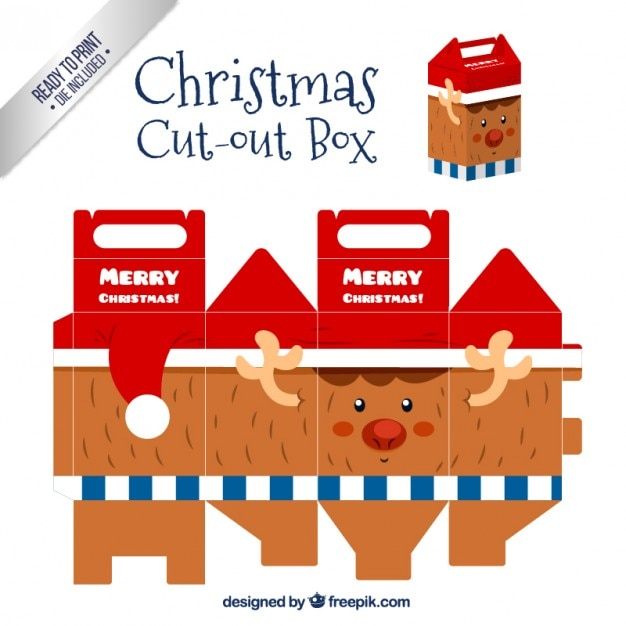 Christmas reindeer cut out box Premium Vector