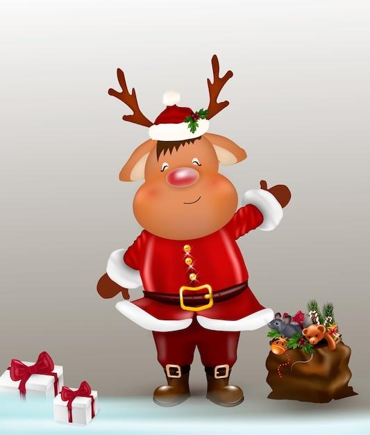 クリスマスのトナカイ。キュートで面白いキャラクターの鹿。クリスマスカード。 Premiumベクター
