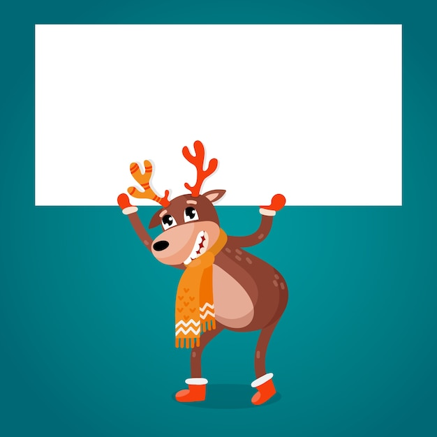 Christmas reindeer holding blank banner Free Vector