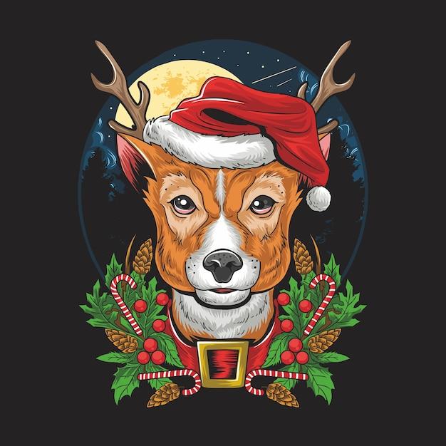 Рождественский олень в шляпе санта-клауса. Premium векторы