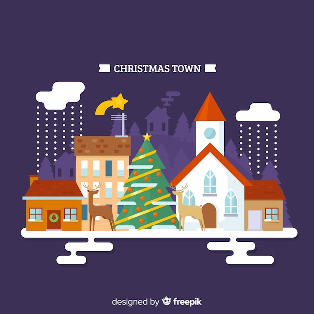 Christmas reindeers town background Free Vector
