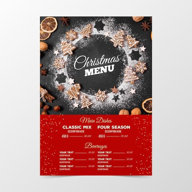 Рождественское меню ресторана с фото Бесплатные векторы