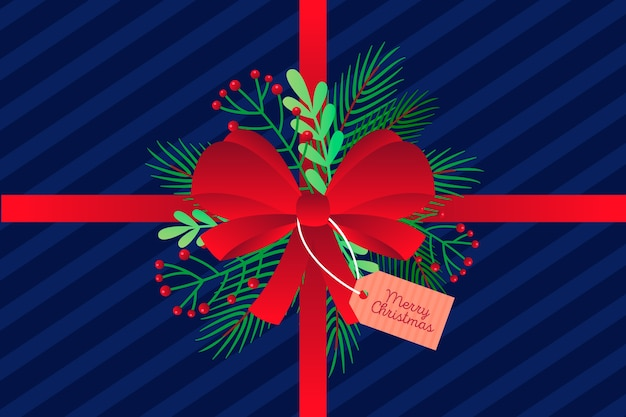 Christmas ribbon background concept Free Vector
