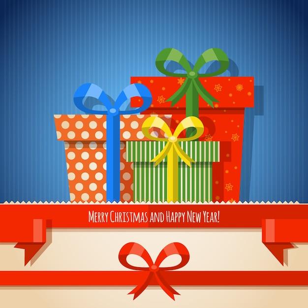 Рождественский фон ленты с подарками Premium векторы