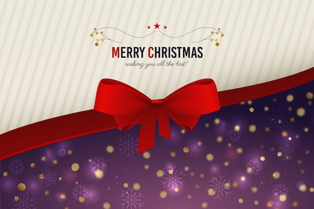 Christmas ribbon background with greeting Free Vector