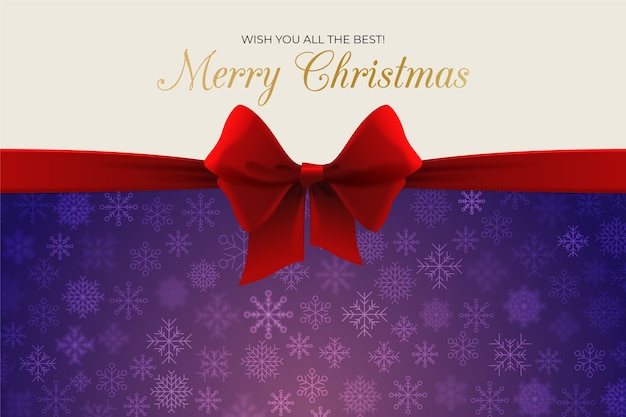 Christmas ribbon background Free Vector