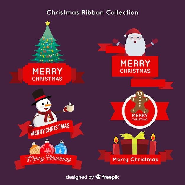 Christmas ribbon collection Free Vector