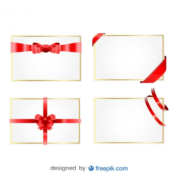 Free Vector Christmas Ribbon Gift Cards