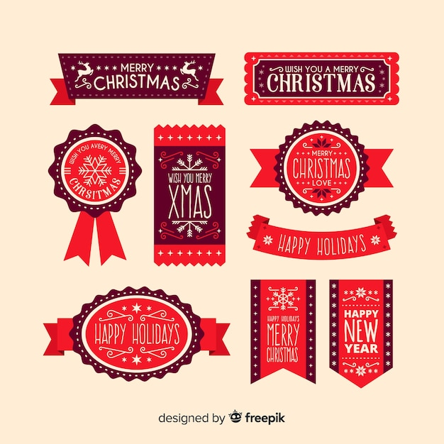 Christmas ribbons collection Free Vector
