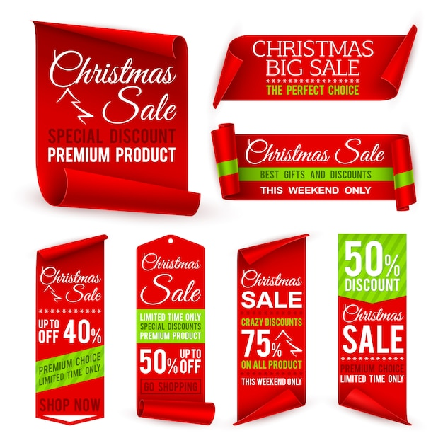 Christmas ribbons. xmas holiday red fabric sale banners with discount offers. realistic vector tag labels Premium Vector