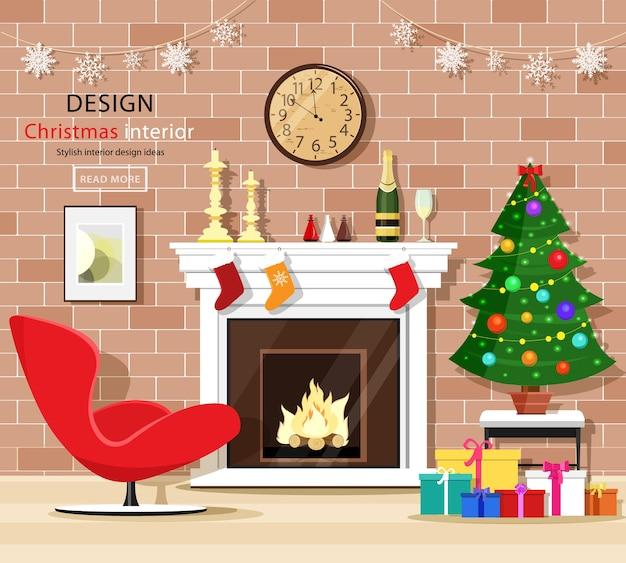 クリスマスルームのインテリアは、クリスマスツリー、暖炉、アームチェア、ギフトボックス、古時計で設定。図。 Premiumベクター