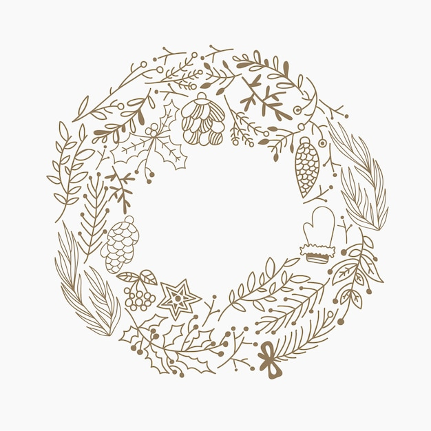 Christmas round frame decorative elements doodle made of leaves and holiday symbols hand drawing illustration Free Vector
