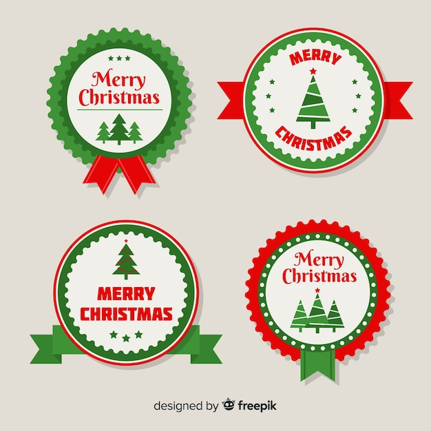 Christmas rounded label pack Free Vector