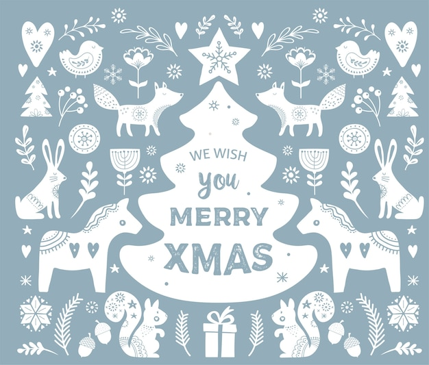 Christmas s, banner  hand drawn elements in scandinavian style Premium Vector