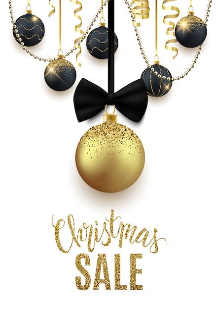 Christmas sale advertisement banner, discount Premium Vector