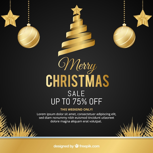 Christmas sale background in retro style Free Vector