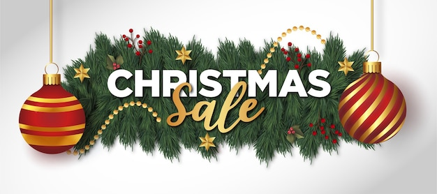 Sfondo di vendita di natale con decorazioni natalizie realistiche Vettore gratuito