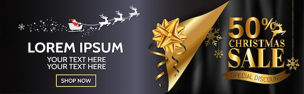 Christmas sale banner design for web Premium Vector