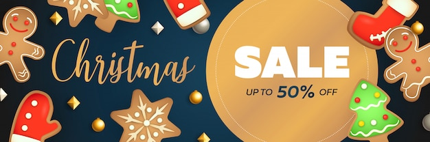 Christmas sale banner design with circular label Free Vector