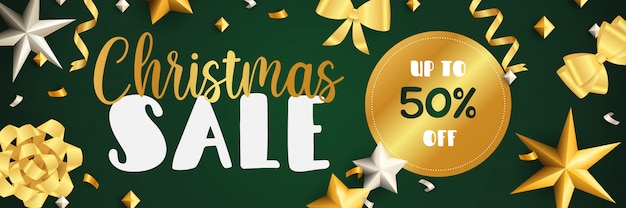 Christmas sale banner design with golden ribbons Free Vector