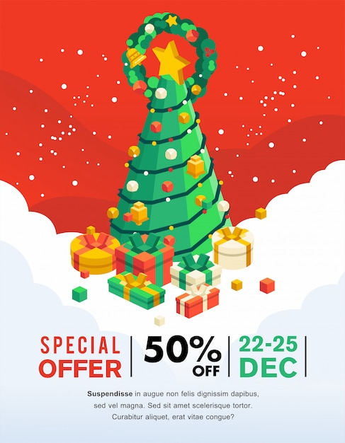 Christmas sale banner and flyer with christmas tree and present under it Premium Vector