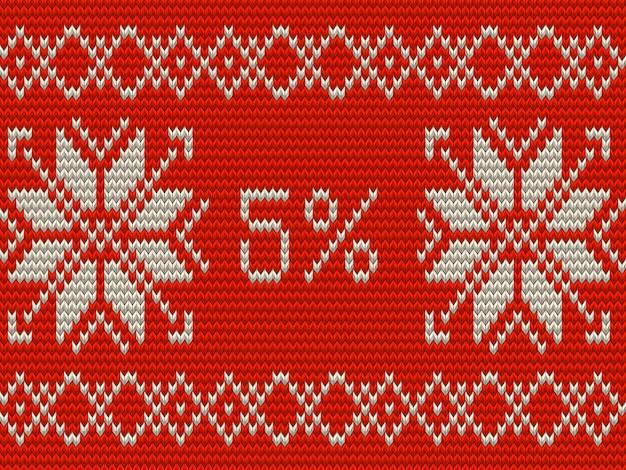 Рождественская распродажа баннер шаблон. пять процентов вязаных скандинавских орнаментов в стиле. а также включает в себя Premium векторы