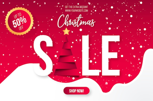 Christmas sale banner template Free Vector