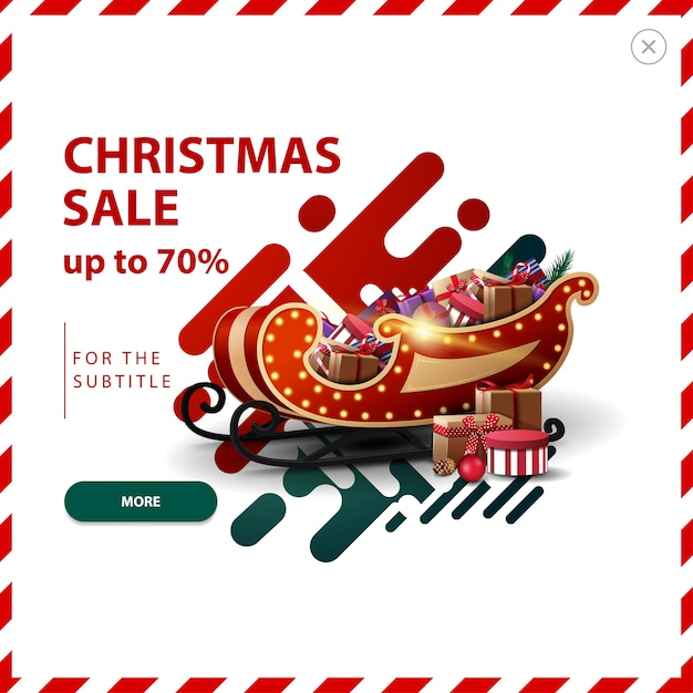 Christmas sale banner, up to 70% off, red and green discount pop up with abstract liquid shapes and santa sleigh with presents. Premium Vector