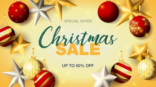 Christmas sale banner with baubles and stars Free Vector