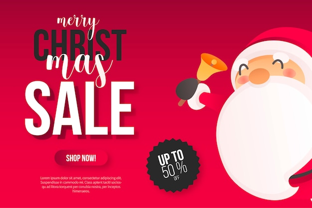 Christmas sale banner with cute santa Free Vector