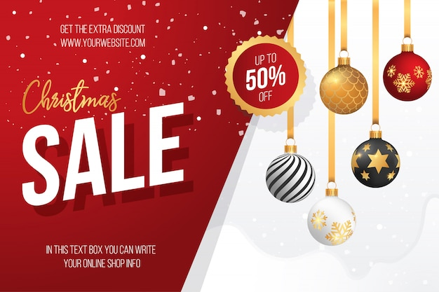 Christmas Sale Banner with Decorative Christmas Balls Free Vector