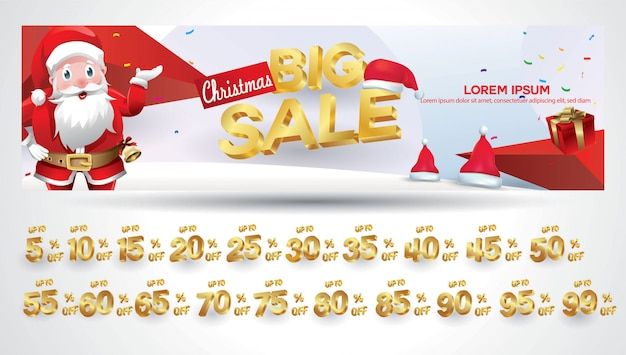 Christmas sale banner with discount tag 10,20,30,40,50,60,70,80,90,99 percent 130 Premium Vector