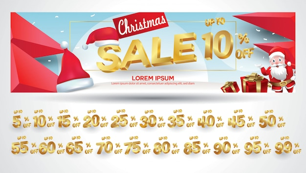 Christmas sale banner with discount tag 10,20,30,40,50,60,70,80,90,99 percent Premium Vector