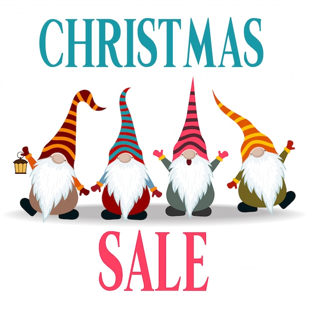 Christmas sale banner with gnomes Premium Vector